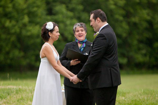 Outdoor ceremony at Bunker Hill. Chicago photo courtesy of Misty Winter Photography
