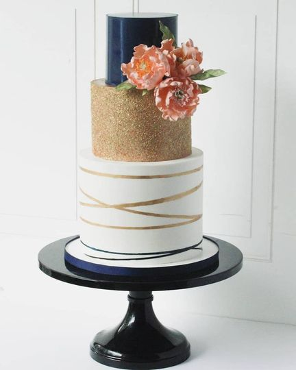 Navy/gold with sugar flowers
