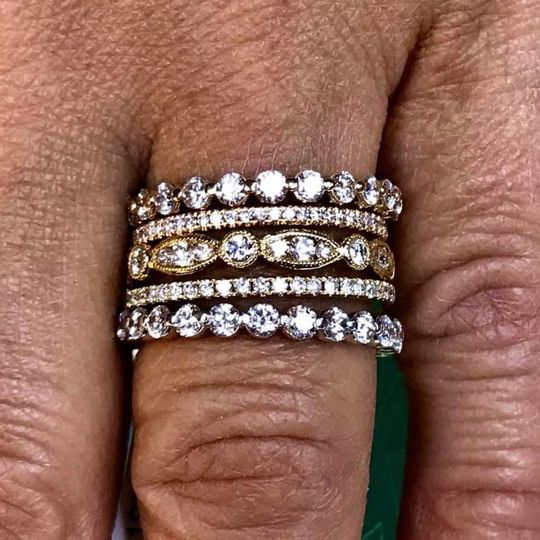 Large selection of stackable wedding bands.