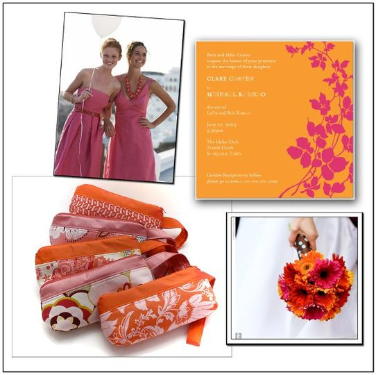 Apropos wallet-size Bridal bags coordinate with the pink and orange wedding theme!