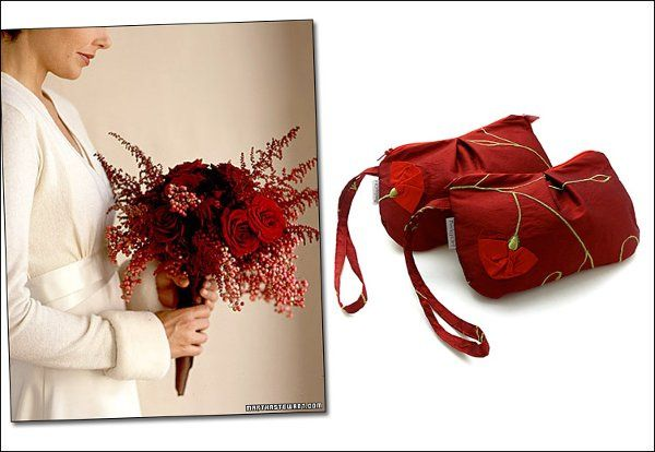 Red silk pleated Pequenyo bags.