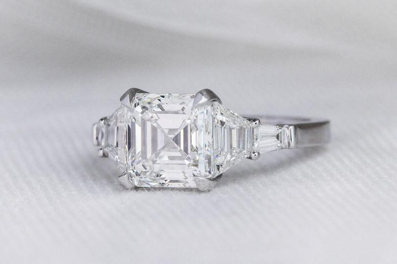Three Stone Asscher Ring
