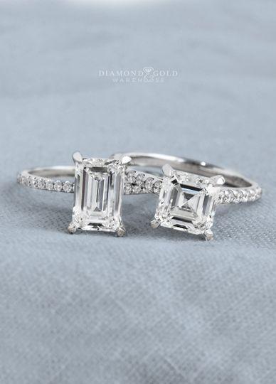 Asscher & Emerald Diamond Ring