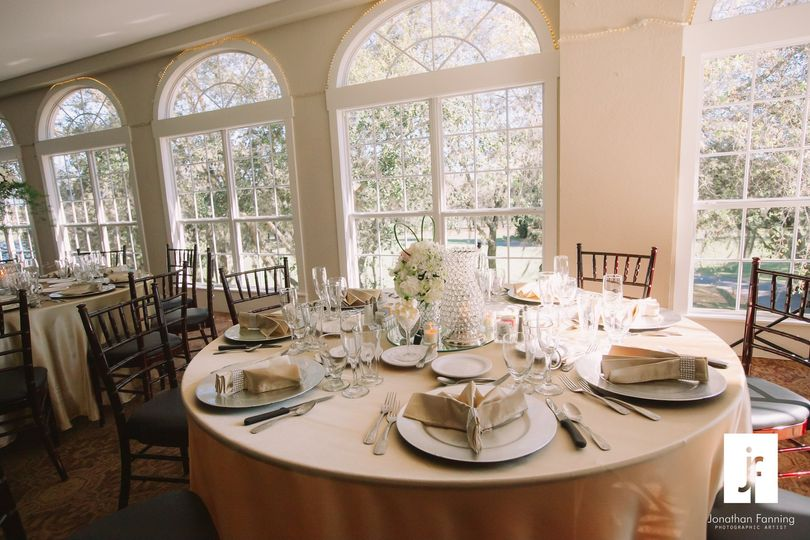 Beige round table centerpiece