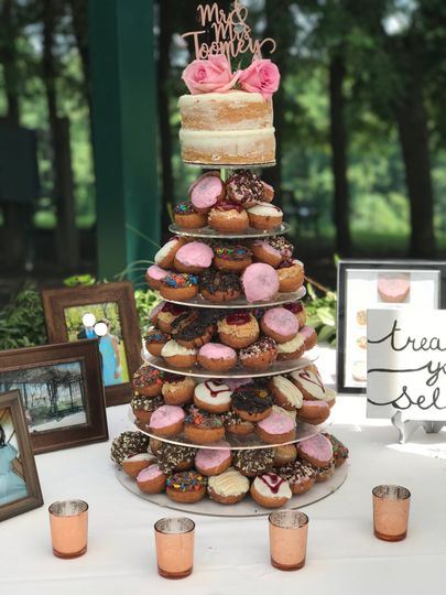 Cake and donut tower