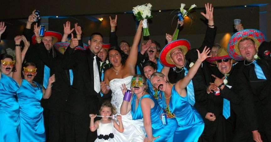 Wedding guests and attendants