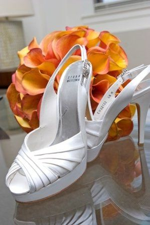 Stuart Weitzman shoes with mango calla bouquet