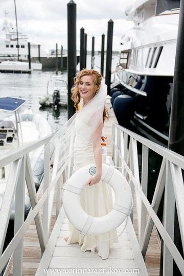 The bride by the docks