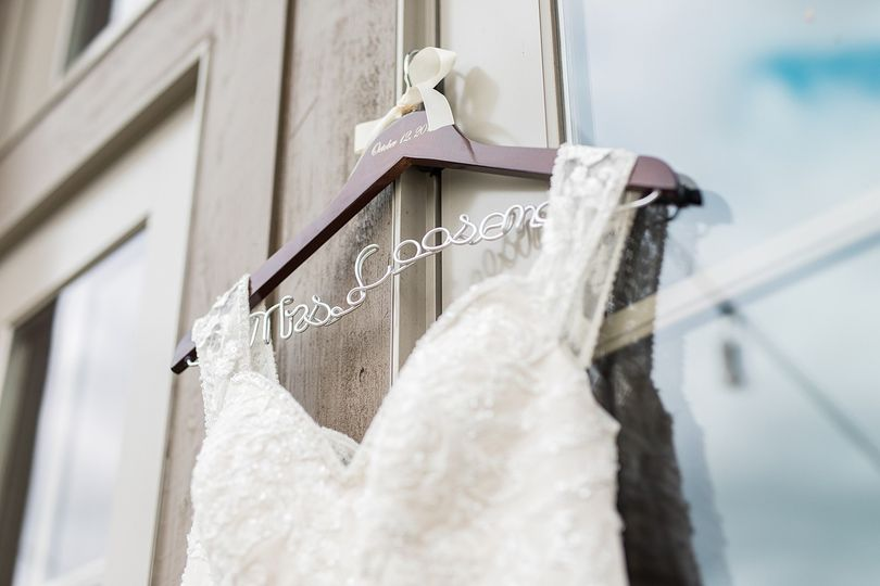Lace wedding dress and hanger