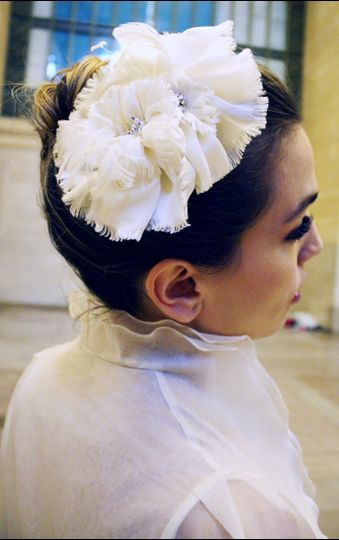 Bridal Silk Satin-Chiffon Flower Hair comb, Swarovski Pearl and Crystal Center - Katy