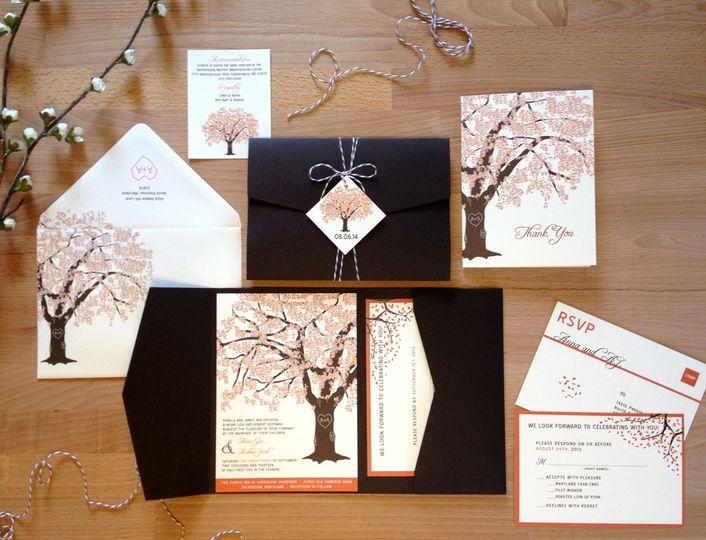 fall oak invitation pocketfold twine upload