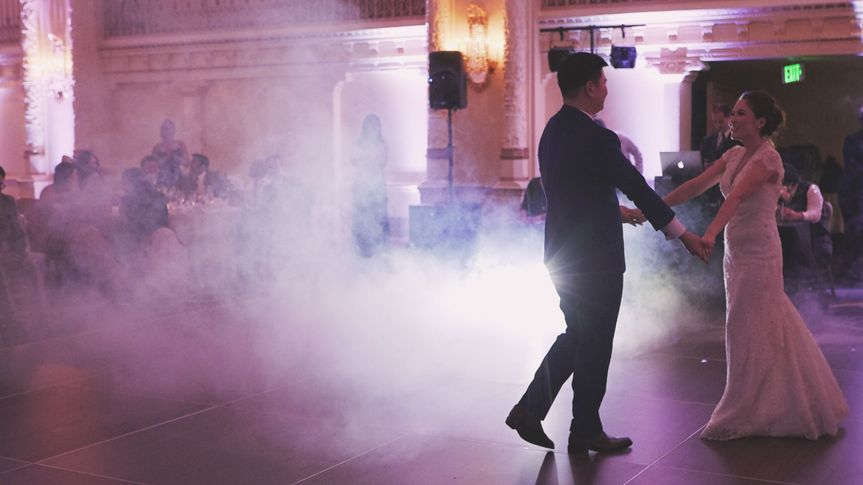First dance using a fog machine and videography lights I bring