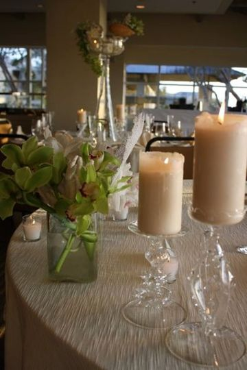 Table with candle centerpiece