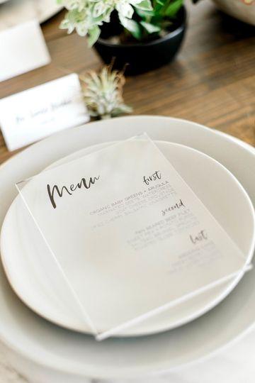 Acrylic modern menu cards