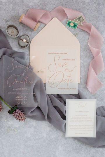 Acrylic and vellum invitation