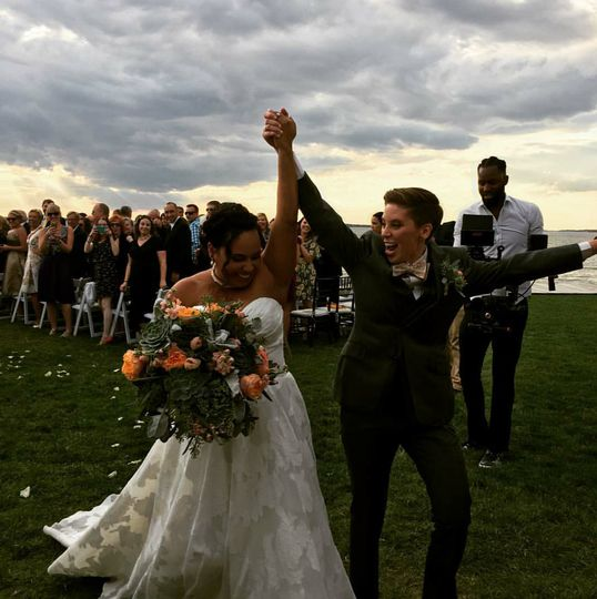 Couple celebrating their marriage