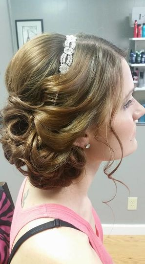Bridal updo and headpiece