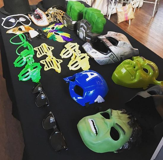 Superhero masks and props