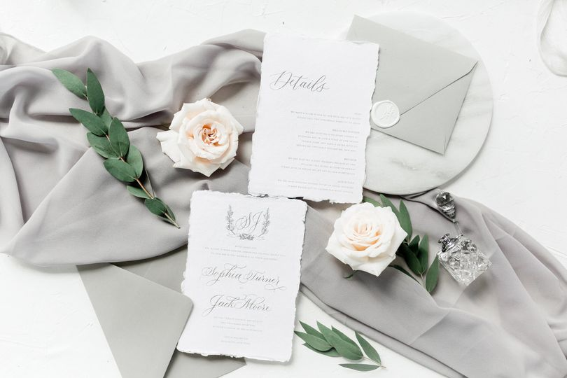 Handmade paper wedding invitat