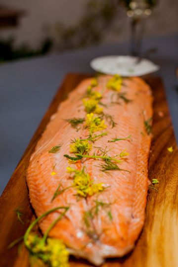 Overnight brined salmon