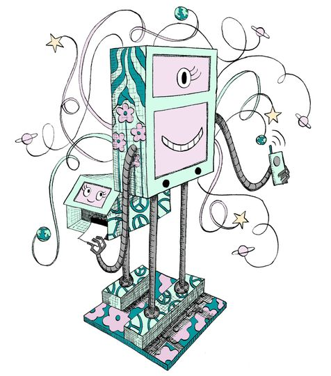 26815a704d511461 Robot Booth Illustration Color PNG Large