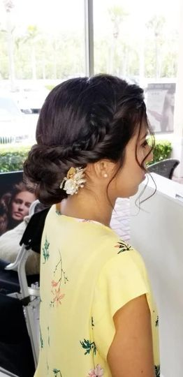 Bohemian bridal side braid updo