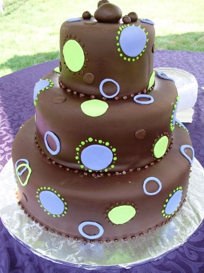 chocolate fondant covered cake, with fun circles and dots