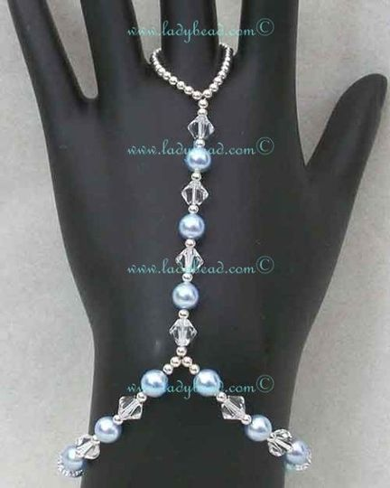 Something Blue Hand Jewelry 6mm Pearl and Crystal