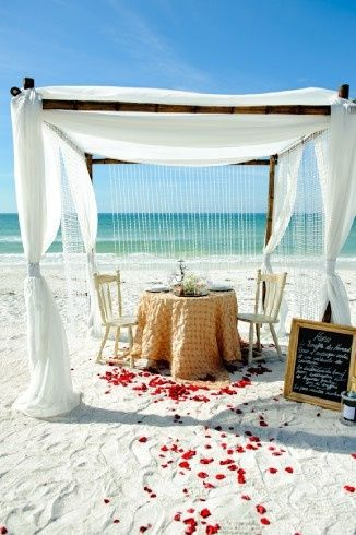 Romantic candlelight Dinner for two on the beach.  The perfect addition to your beach elopement!...
