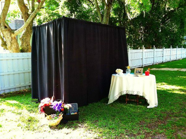 Our booth set up at an outdoor wedding April 2011