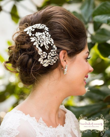 Wedding updo with accessory on the side