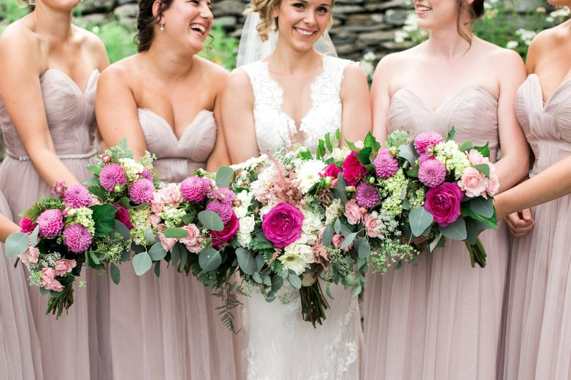 Pinks and greens - Bridesmaids bouquets