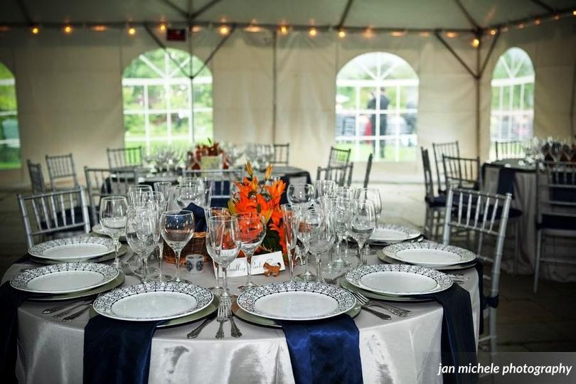 Even if the weather doesn't cooperate, dining under our tent is lovely.