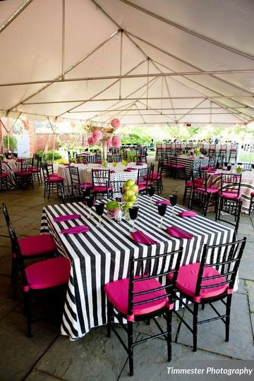 Striped tables and pink chairs