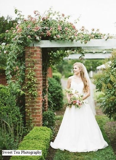 A beautiful bride, surrounded by beautiful gardens!