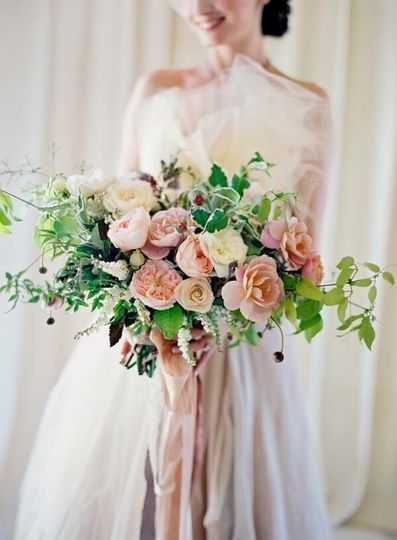 Pink flowers with greenery