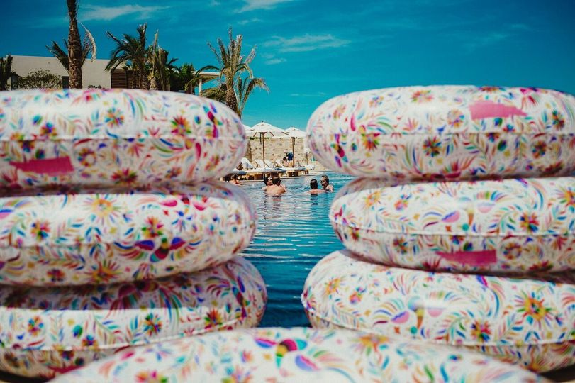 Mexican inflatable pool rings make for a fun accessory by the pool!Photography Credit: Fer Juaristi