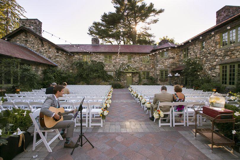 summer white garden chairs courtyard musicians
