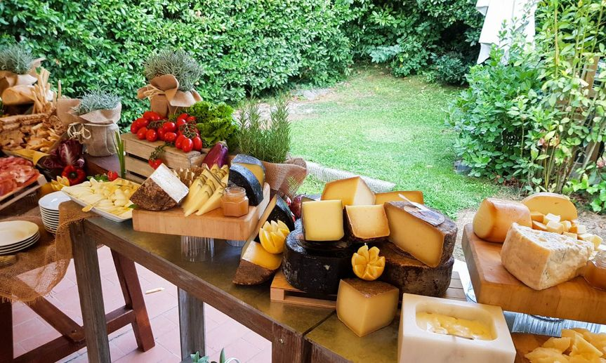 Rustic cheese buffet