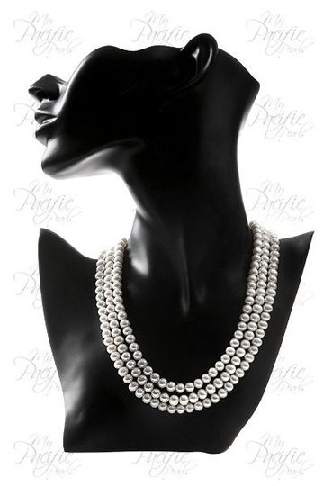 TARA ISLAND COLLECTION 8-9mm White Triple Strand Pearl Necklace