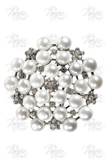 TARA ISLAND COLLECTION - White Pearl Brooch Encrusted with Russian Diamonds