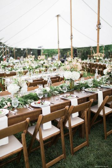 A beautiful outdoor tent and vintage china go hand in hand.