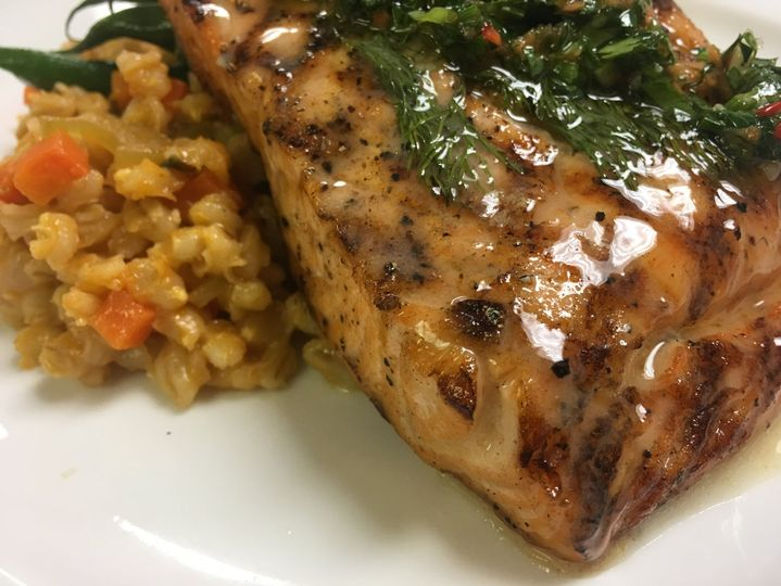 Grilled woodland salmon