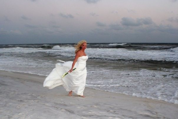 Bride beside the beach