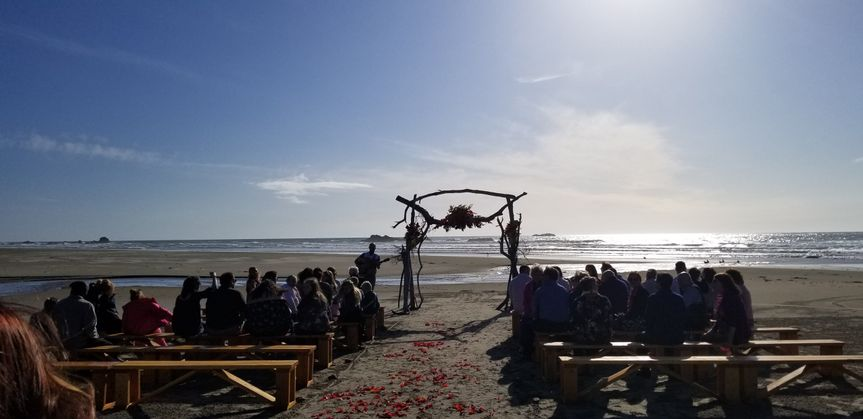 Benches and beach wedding