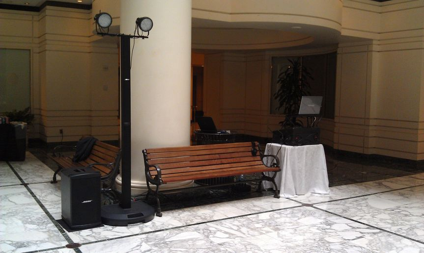 My setup at the Old Ebbitt for an evening wedding reception.