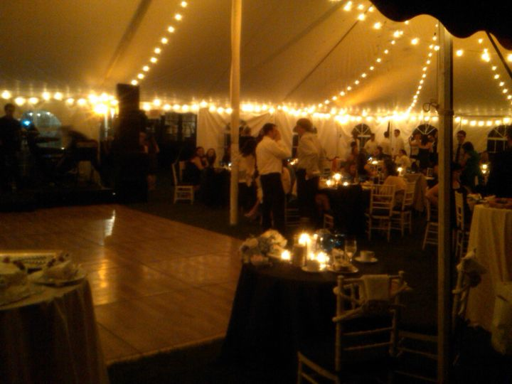 A cozy reception tent