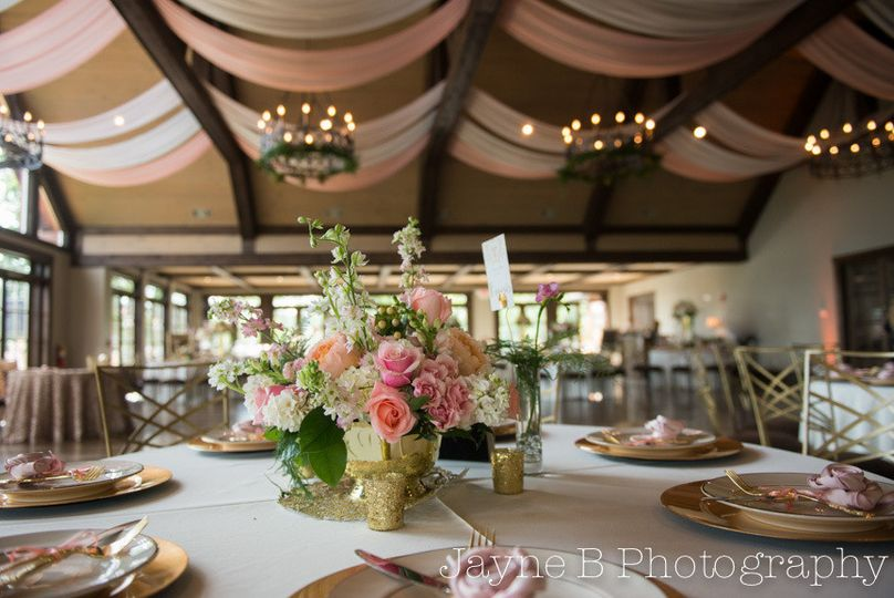 Table setup with bouquet