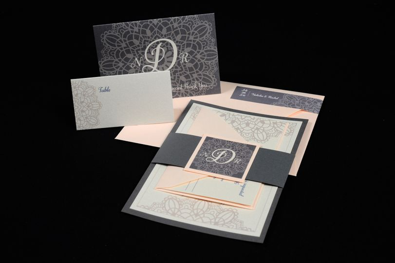 Black and peach invitation