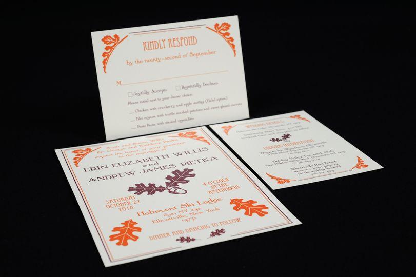 White, orange, and violet invite